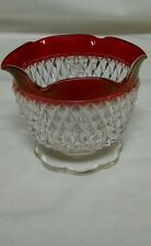 Vintage Indiana glass diamond point, ruby flash band ruffled candy dish