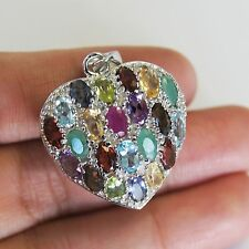 HEART PENDANT MIX GEM STONES & .925STERLING SILVER