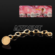 Dental Orthodontic Traction Chain Round Buttons with Chain Gold Plated 10 Pcs