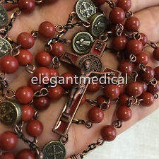 Nice Red Carnelian bead Vintage Catholic St. Benedict Rosary Cross Necklace Gift