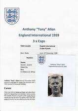 TONY ALLEN ENGLAND INTERNATIONAL 1959 ORIGINAL SIGNED MAGAZINE PICTURE CUTTING