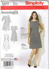 Womens Contrast Sides Dress Amazing Fit Sewing Pattern Plus Size 20 22 24 26 28