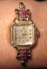 VTG ART DECO 14KT YELLOW & RUBY MEPA 17 JEWEL WOMAN'S WRISTWATCH STUNNING-TLC