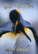 PERSONALISED PENGUIN ENGAGEMENT ANNIVERSARY ANY OCCASION CARD Illus Insert