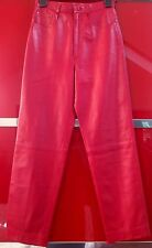 1980S Gucci Red Leather Trousers W26 L30