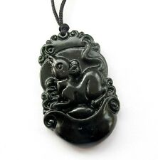 Black Green Jade Happy Lucky Chinese Zodiac Rat Yuanbao Money Amulet Pendant