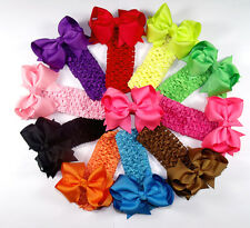 """4"""" 10 pcs Baby Infant Girl Costume Boutique Hair Bows Clips Heabands H2"""