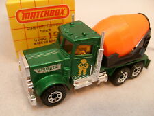 1981 MATCHBOX SUPERFAST #19 PETERBILT CEMENT TRUCK YELLOW MAN WHITE BIG PETE MIB