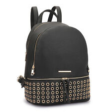 New Fashion Dasein Faux Leather Round Studded Black Schoolbag Backpack For Her