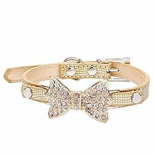 Cute PetBling Rhinestone Pet Cat Dog Bow Tie Collar Necklace Jewelry for Small