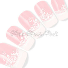Nail Art Water Decals Transfers Stickers Wraps White Lace & Roses Flowers Y135