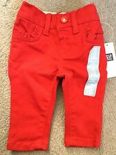 GAP- RED SKINNY FIT TROUSERS WITH ELASTICATED BACK & FRILLED POCKETS- 0-3m -BNWT