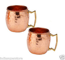 100% Pure Copper Brass Handle Moscow Mule Hammered Mug Handmade Set of 2 Mugs