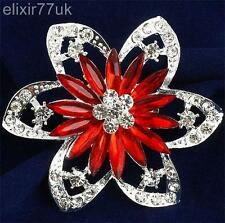 "2.5"" LARGE SILVER RED FLOWER BROOCH DIAMANTE CRYSTAL WEDDING BRIDAL PARTY BROACH"