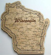 Wisconsin State Shape Road Map Cribbage Board