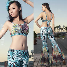 New Arrival Tribal Style Blouse Top with Fishtail Pants 2pcs set Dance Costume