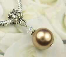 Bronze Crystal Pearl Dangle Charm Bead European Style w Swarovski Elements
