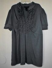 WOMENS PLUS SIZE SLATE GRAY STRETCH TOP WITH RUFFLE ACCENTS SIZE 22/24