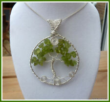 Peridot Pendant,Tree of Life, Silver, Handmade Gemstone Jewellery