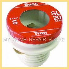 FREE S&H! BUSS MAN TRON TYPE S SL 20 AMP TIME DELAY REJECTION BASE SCREW IN FUSE