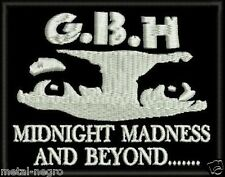 GBH EMBROIDERED PATCH HARDCORE PUNK ROCK G.B.H Metal Negro