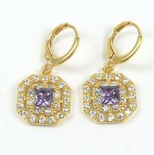 Women's 18 carat Gold Plated Purple Cubic Zircon Huggie Hoop Earrings