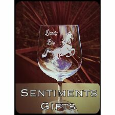 Personalised Engraved Horse Wine Glass - New - Handmade