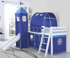 Kids Cabin Bunk Bed Mid Sleeper with Slide and Ladder Wooden and Mattress Choice
