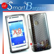 Black Soft Gel TPU Cover Case F Sony Ericsson X8 Xperia