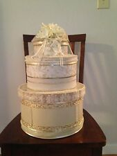 Gold/Ivory Wedding Wishing Well, Card Box - Detailed/Decorative