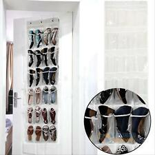 24 Pocket Clothes Shoes Organiser Holder Door Wall Hanging Storage Bag Rack #F8s