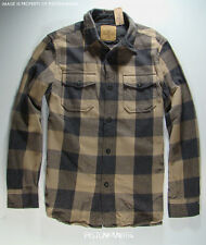 American Eagle Mens Khaki Gray Plaid Heavy Flannel Shirt LARGE NWT