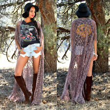 Long Metallic FESTIVAL Hippie Boho FRINGE Cape Kimono Jacket Sheer Crochet Lace
