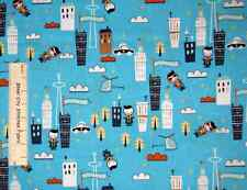 Super Hero Superheroes City Scene Blue Timeless Treasures Cotton Fabric YARD