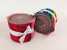 2.5 inch Rainbow swirl  Jelly Roll 100% cotton fabric quilting strips