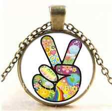 Vintage Peace Sign Photo Cabochon Glass Bronze Chain Pendant Necklace