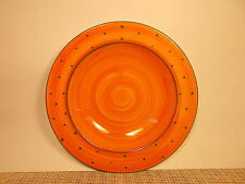 """Holdenby Pottery Mad Hatters Tea Party  Rimmed Soup Bowl 10 1/8"""" Orange/Green"""