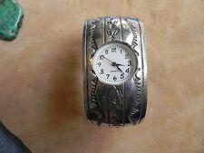 Stamped Sterling Silver Cuff Watch Band by Kenneth & Mary Bill Navajo