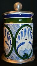 Hand Painted Ceramic Canister with Cast Aluminum Lid and Footed Attached Stand
