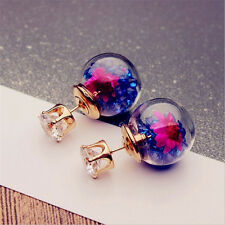 MultiColoured Glass Crystal Double Sided Front & Back Gold Ball Studs Earrings