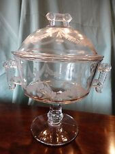 Wheel & Comma Clear Aetna Glass Co EAPG Covered Compote Etched Handled Candy
