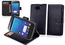 BLACK Premium New Wallet Leather Case Cover For Telstra 4GX Buzz + Screen Guard