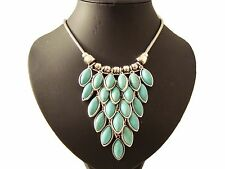 Chunky Turquoise Stone Silver Bead Tear V Drop STaTeMenT Necklace Designer Style