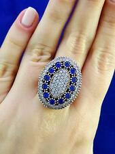STERLING 925 SILVER SIZE 8.5 SAPPHIRE RING TURKISH HANDMADE JEWELRY R1593