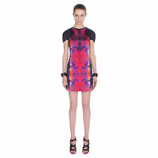 ALEXANDER McQUEEN McQ $1245 printed silk cap sleeve molded torso dress 42/6 NEW