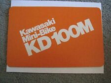 KAWASAKI KD100M DEALER SALES DISPLAY CARD SIGN NOS!