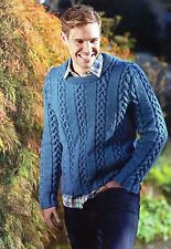 ~ Pull-Out Knitting Pattern For Man's Chunky Cabled Sweater ~