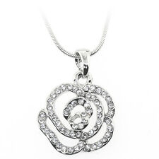 """Beautiful Silver Color Flower Shape Pendant with White Crystals and 16"""" Chain"""