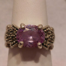 Vintage Antique Estate~Amethyst & Marcasite Accents Sterling Silver Ring Size 7