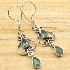 Green APATITE 2 Gemstones Everyday Earrings 1.8 Inch, Sterling Silver Plated